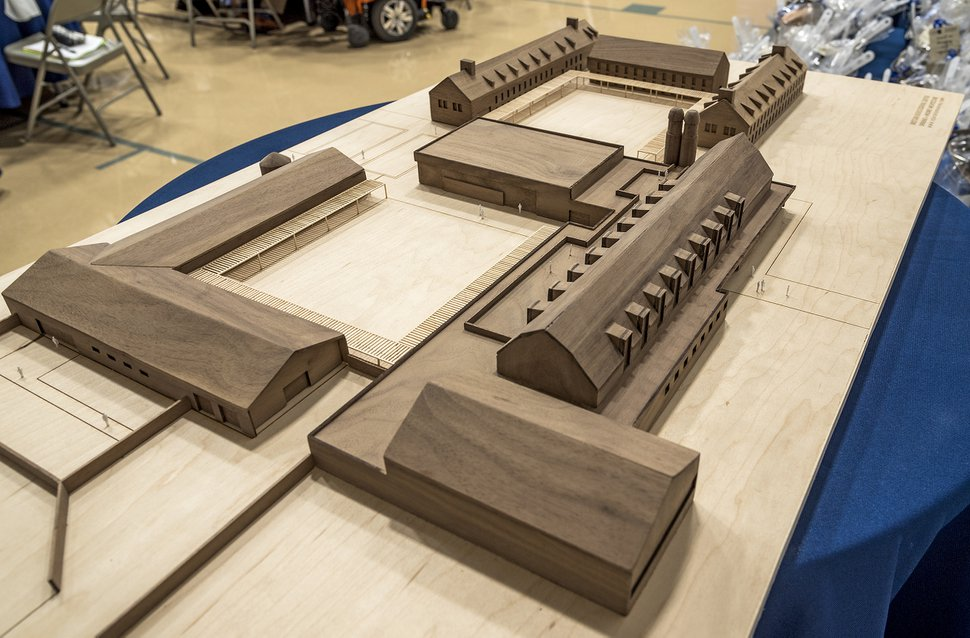(Michael Mangum | Special to the Tribune) A model of a STEM education center within the proposed Bastian Agricultural Center is displayed at an event at Bastian Elementary School in Herriman, UT on Saturday, June 22, 2019. The event celebrated the center in conjunction with the proposed Olympia Hills development project.