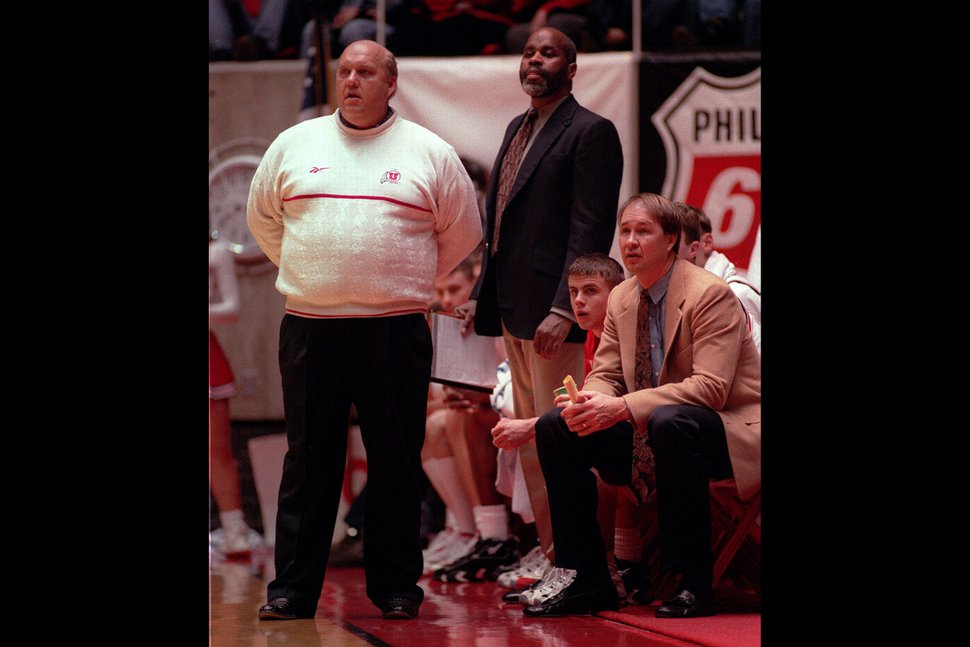(Steve Griffin | Tribune file photo) Utah head coach Rick Majerus, and assistant coaches Donny Daniels and Jeff Judkins on the Huntsman Center sideline during a victory over Rice in 1997.