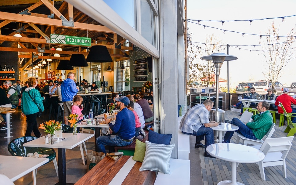(Francisco Kjolseth | The Salt Lake Tribune) The new Park City Whole Foods, which opened down the street from the original, includes the Silver Mine Tap Room, a family-friendly restaurant with 24-beers on tap and an open floor layout with garage doors to connect out into the patio area.
