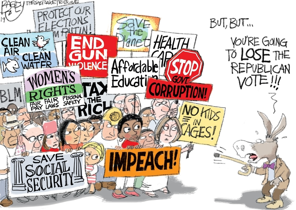 (Pat Bagley | The Salt Lake Tribune) This Pat Bagley cartoon, titled Democrats Wooing Who?, appears in The Salt Lake Tribune on Sunday, July 7, 2019.