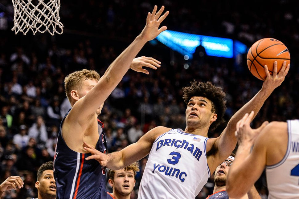 (Trent Nelson | The Salt Lake Tribune) Brigham Young Cougars guard Elijah Bryant (3) shoots over St. Mary's Gaels center Jock Landale (34) as BYU hosts the St. Mary's Gaels, NCAA basketball in Provo, Saturday December 30, 2017.