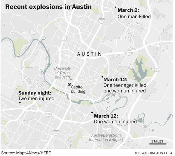 (The Washington Post) Recent package bomb explosions in Austin.