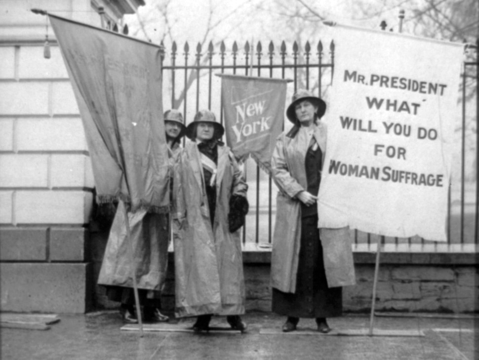 (Photo courtesy Library of Congress) Suffrage activists picket at the White House on Jan. 26, 1917.