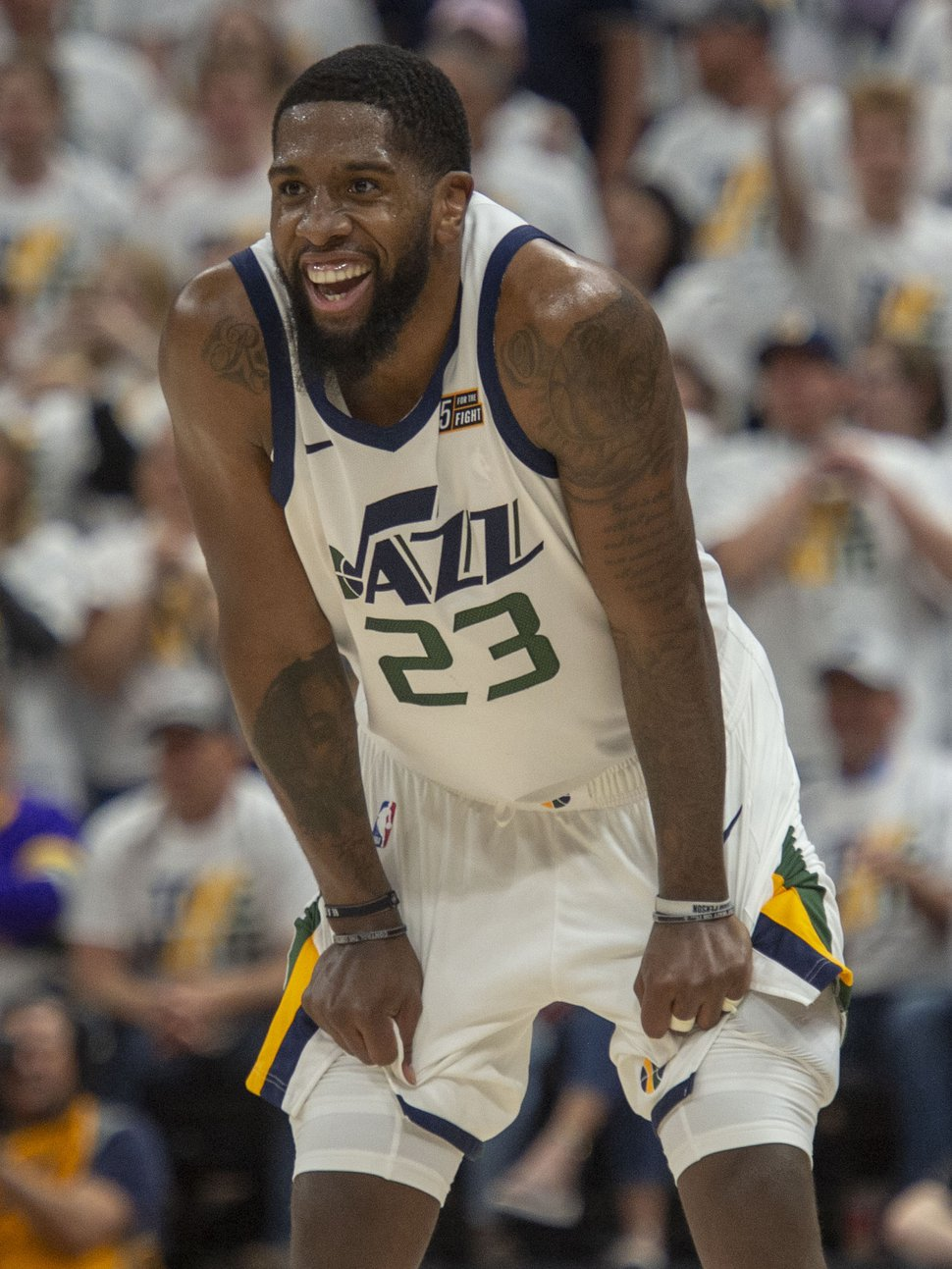 (Rick Egan | The Salt Lake Tribune) Utah Jazz forward Royce O'Neale (23) reacts after being called for a personal foul after stripping the ball fromHouston Rockets guard James Harden (13), as the Jazz defeated the Rockets 107-91, in game 4 of the NBA Playoffs, in Salt Lake City, Monday, April 22, 2019.