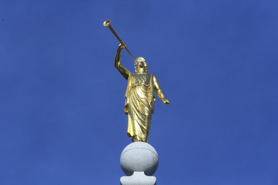 (Rick Bowmer, AP file photo) In this April 6, 2019, file photo, the Angel Moroni sits atop the Salt Lake Temple. Many Latter-day Saint temple include this iconic statue.