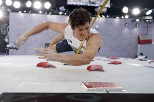 (Tsuyoshi Ueda | Pool photo) Nathaniel Coleman, of the United States, competes during the speed portion of the men's sport climbing final at the 2020 Summer Olympics, Thursday, Aug. 5, 2021, in Tokyo.