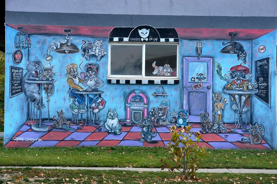(Scott Sommerdorf | The Salt Lake Tribune) The mural on the west side of Tinker's Cat Cafe on 900 South in Salt Lake City on Thursday, Nov. 2, 2017.