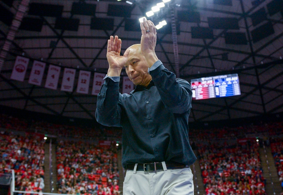 (Leah Hogsten | The Salt Lake Tribune) Gymnastics coach Tom Farden reacts after the bars routine as the University of Utah fifth-ranked gymnastics team hosts No. 12 University of Kentucky during its home opener, Jan. 3, 2020, at the Huntsman Center.