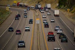 (Trent Nelson  |  The Salt Lake Tribune) Traffic on I-80 in Parley's Canyon on Thursday, July 1, 2021. Vehicle emissions are a significant contributor to ozone pollution in Utah.