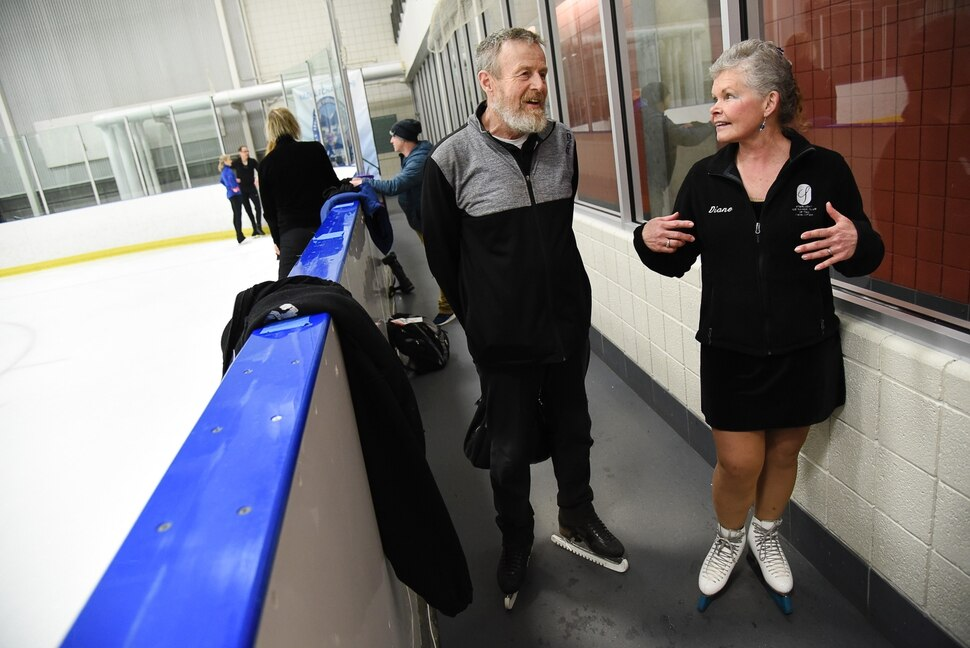 (Francisco Kjolseth | The Salt Lake Tribune) Glen and Diane Gleving, both 65, from Minnesota talk about their love for skating while cooling down following a practice session to work on their couples routine on Wed. April 3, 2019. The pair are just some of the more senior skaters participating in the 2019 U.S. Adult Figure Skating Championships, now in its 25th year, being held at the SLC Sports Complex. Over 600 skaters between 21 and 80 will compete April 3-6.