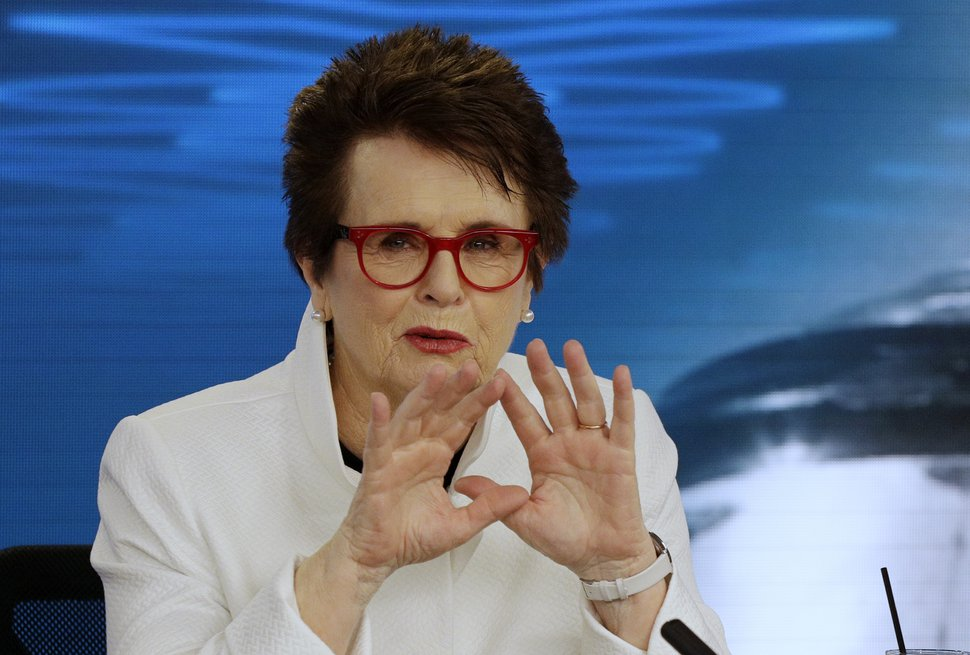 In this Jan . 12, 2018, file photo, Billie Jean King gestures during a press conference ahead of the Australian Open tennis championships in Melbourne, Australia. (AP Photo/Mark Baker, File)