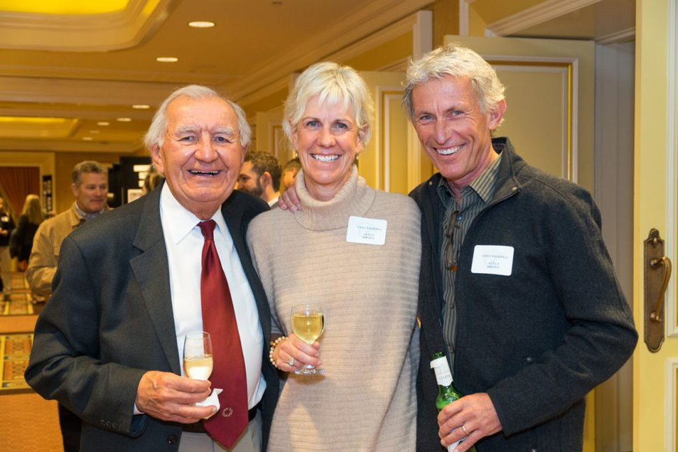 Mike Korologos, left, with Tana and Onno Wieringa, then-general manager at Alta, taken at the Marriott Library's annual Ski Affair in 2016 at Little America Hotel.