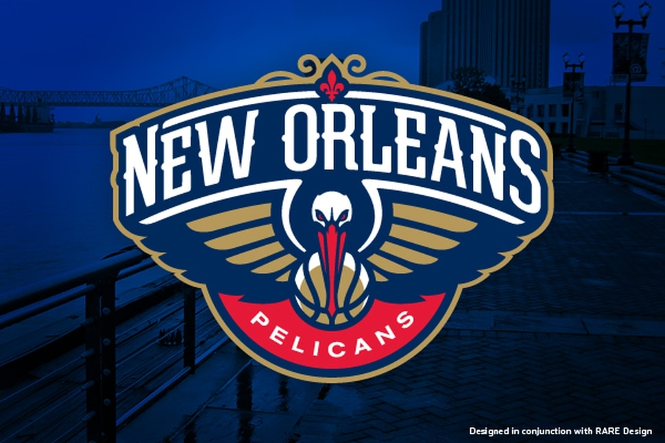 The New Orleans Pelicans logo upon that franchise's rebranding, designed by RARE Design in conjunction with Ben Barnes