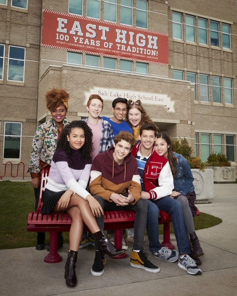"(Photo courtesy Craig Sjodin/Disney+) ""High School Musical: The Musical: The Series"" stars Dara Reneé as Kourtney, Sofia Wylie as Gina, Larry Saperstein as Big Red, Joshua Bassett as Ricky, Frankie A. Rodriguez as Carlos, Julia Lester as Ashlyn, Matt Cornett as E.J., and Olivia Rodrigo as Nini."