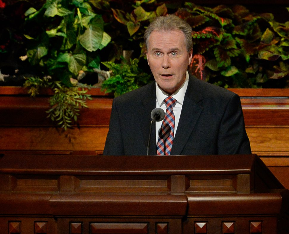 (Francisco Kjolseth | The Salt Lake Tribune) Hans T. Boom of the Quorum of the Seventy addresses those gathered for the Sunday afternoon session of the 189th Semiannual General Conference of The Church of Jesus Christ of Latter-day Saints at the Conference Center in Salt Lake City on Sunday, Oct. 6, 2019.