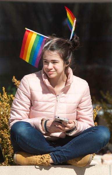 (Rick Egan | The Salt Lake Tribune) Alyssa Mingorance wears flags in her hair to celebrate Rainbow Day on the BYU Campus, Wednesday, Feb. 26, 2020.