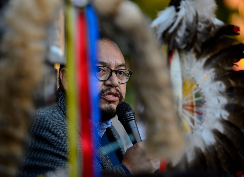(Steve Griffin   The Salt Lake Tribune) Moroni Benally, Co-founder of the Utah League of Native American Voters, speaks as the group holds a rally in support of the second Monday of October being Indigenous Peoples' Day. The Salt Lake City Council unanimously voted in favor of the resolution in their regular Council Meeting in Salt Lake City Tuesday October 3, 2017. The Utah League of Native American Voters has worked with Council member Charlie Luke (District 6) to bring this resolution to a vote. If successful, Salt Lake City will join 26 other cities across the country in adopting Indigenous Peoples' Day. Replacing Columbus Day with Indigenous Peoples Day is an important step towards historical truth and cultural reconciliation in this country.