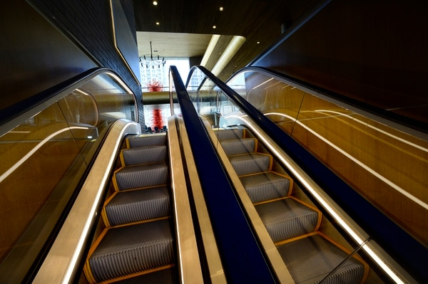 (Scott Sommerdorf | The Salt Lake Tribune) The new escalator in the newly renovated Abravanel Hall lobby, Thursday, October 19, 2017.