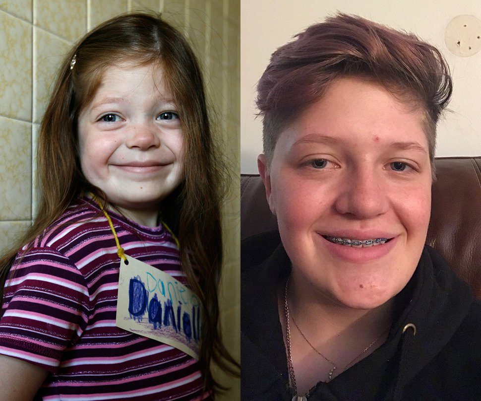 Danielle Lerdahl as a first grader at Orchard Elementary School in West Valley in 2007 and today.