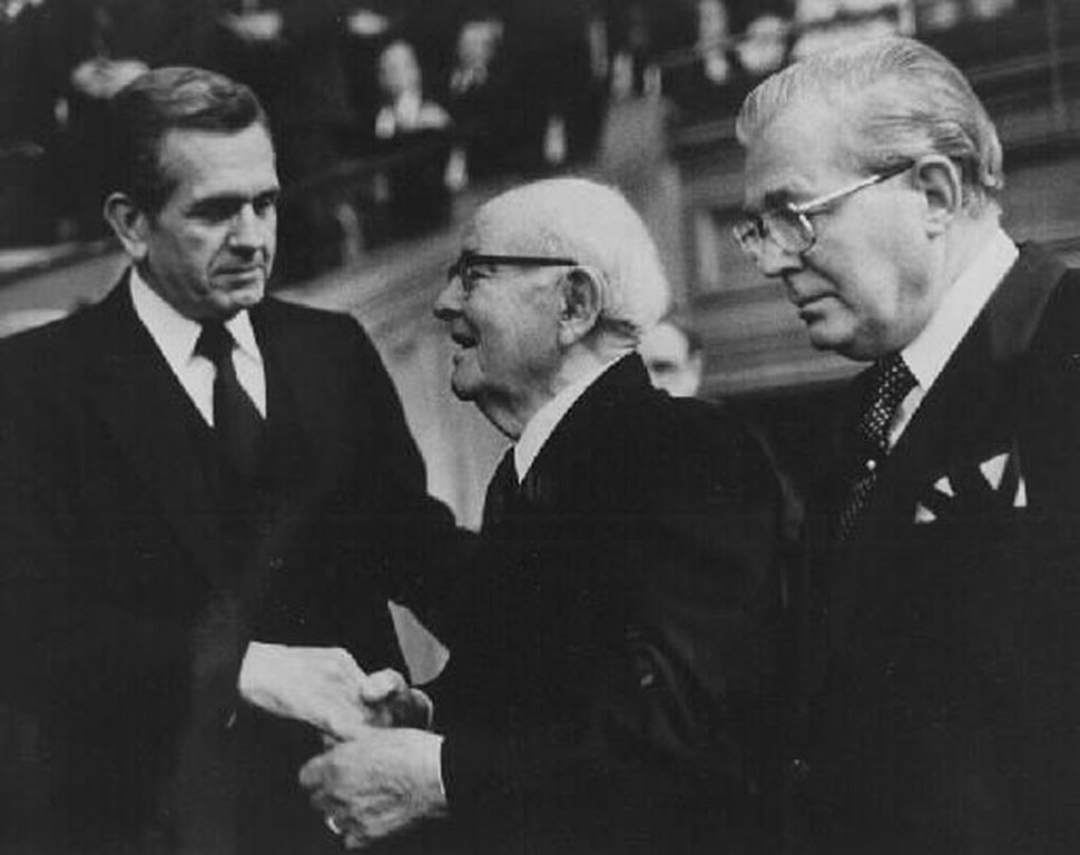 Courtesy | LDS Church Boyd K. Packer shaking hands with President Spencer W. Kimball at general conference, 1980s.
