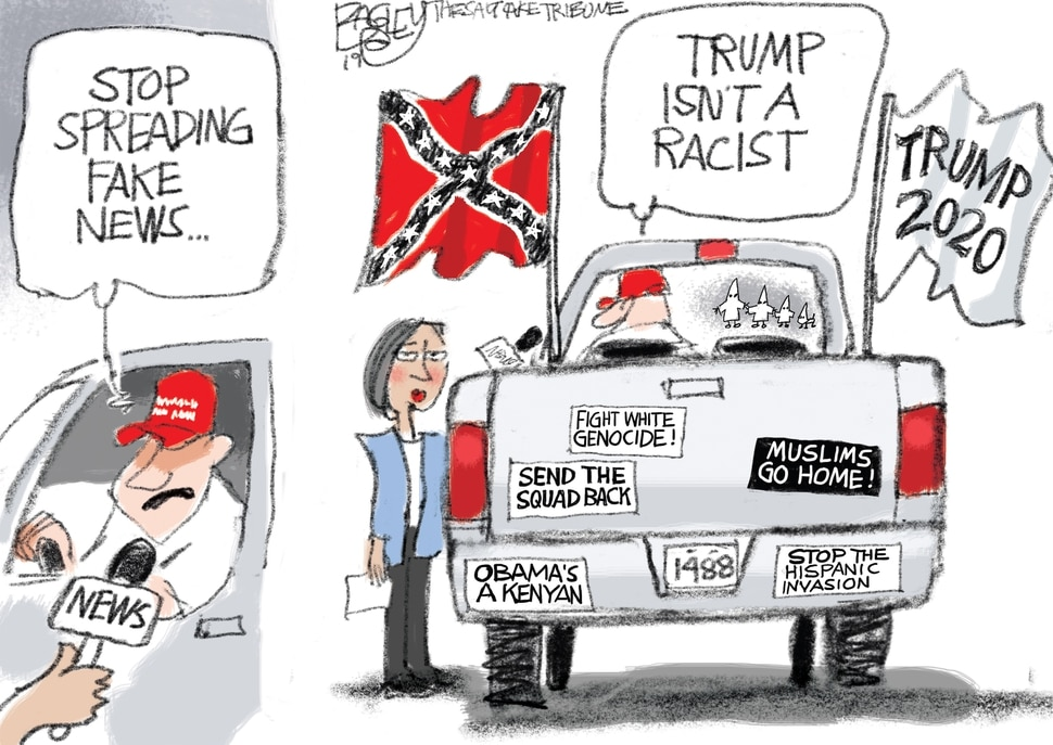 "(Pat Bagley | The Salt Lake Tribune) This cartoon, titled ""Trucking in Racism,"" appears in The Salt Lake Tribune on Thursday, Aug. 8, 2019."