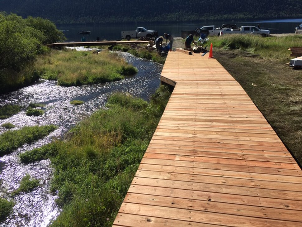 (Courtesy of Utah Division of Wildlife Resources) A new boardwalk along Twin Creek at Utah's Fish Lake will allow visitors to view next month's spawning run of kokanee salmon without damaging the banks. Utah state wildlife officials are spending millions upgrading marinas and other facilities at the popular lake in the Fishlake National Forest to improve angler access on the six-mile-long lake whose edges are choked with invasive weeds that prevent fishing from the shore.