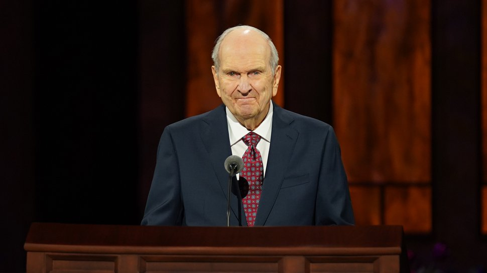 (Photo courtesy of The Church of Jesus Christ of Latter-day Saints) President Russell M. Nelson gives his opening remarks at General Conference on Oct. 3, 2020, from the Conference Center theater in downtown Salt Lake City.