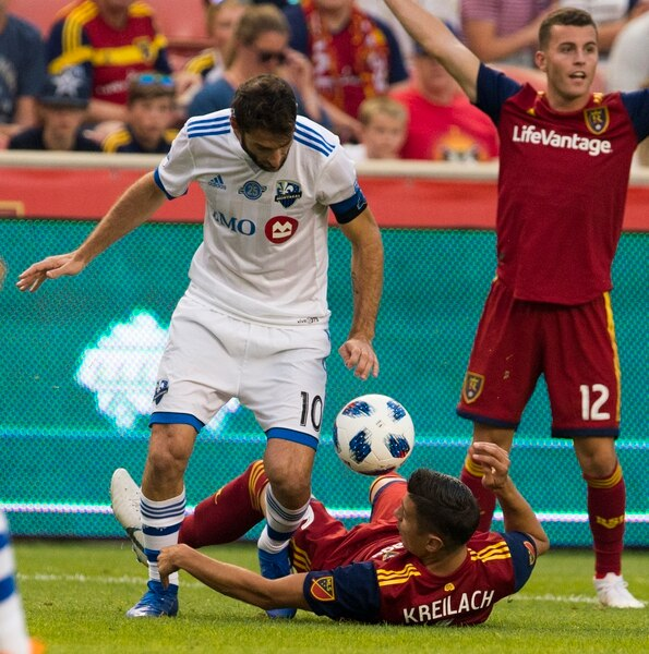 (Rick Egan | The Salt Lake Tribune) Montreal Impact midfielder Ignacio Piatti (10) collides with Real Salt Lake midfielder Damir Kreilach (6), in MLS action between Real Salt Lake and Montreal Impact, at Rio Tinto Stadium in Sandy, Saturday, Aug. 11, 2018.