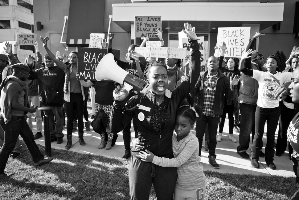 (Autumn Lin | Magnolia Pictures) Activist Brittany Ferrell stands with protesters in Ferguson, Mo., in a moment captured in the documentary Whose Streets?