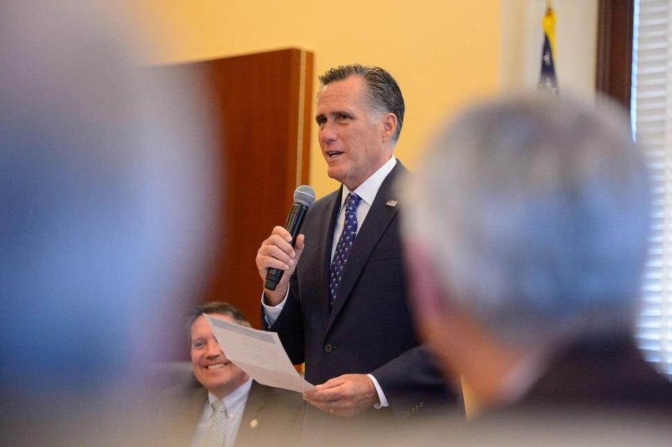 (Trent Nelson | The Salt Lake Tribune) Sen. Mitt Romney speaks to Republican representatives at the state Capitol in Salt Lake City on Friday, Feb. 28, 2020.