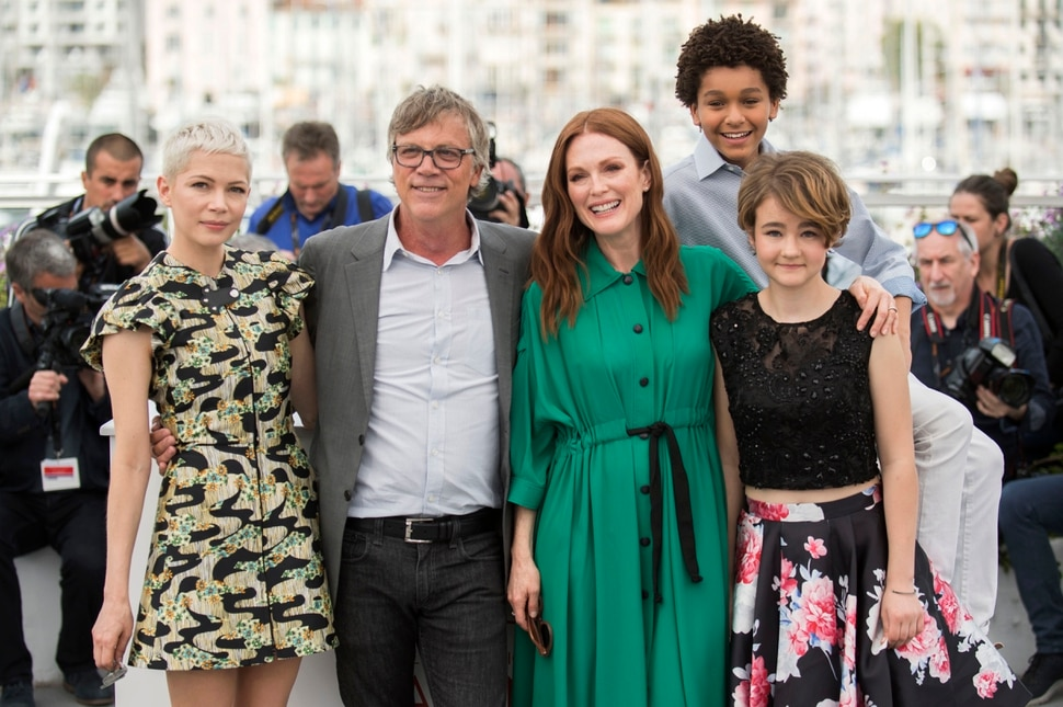 (Photo by Arthur Mola/Invision/AP) Actress Michelle Williams, from left, director Todd Haynes, actors Julianne Moore, Jaden Michael and Millicent Simmonds pose for photographers during the photo call for the film Wonderstruck at the 70th international film festival, Cannes, southern France, Thursday, May 18, 2017.
