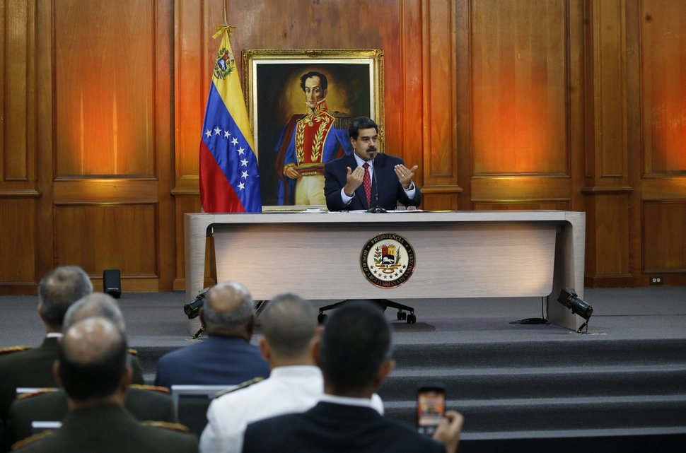 (Ariana Cubillos | AP photo) Venezuelan President Nicolas Maduro gives a press conference at Miraflores presidential palace in Caracas, Venezuela, Friday, Jan. 25, 2019, amid a political power struggle with an opposition leader who has declared himself interim president.