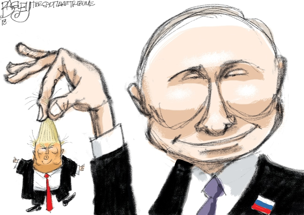 "This Pat Bagley cartoon, titled ""Dangling Donald"" appears in The Salt Lake Tribune on Wednesday, Jan. 31, 2018."