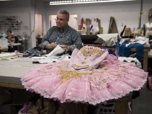 "(Photo courtesy of Ballet West) David Heuvel, director of costume production for Ballet West, works on a costume for a sugar-plum fairy in the troupe's production of ""The Nutcracker"" in 2017. Ballet West announced on Aug. 5, 2020, that Heuvel is retiring after 41 years with the company."