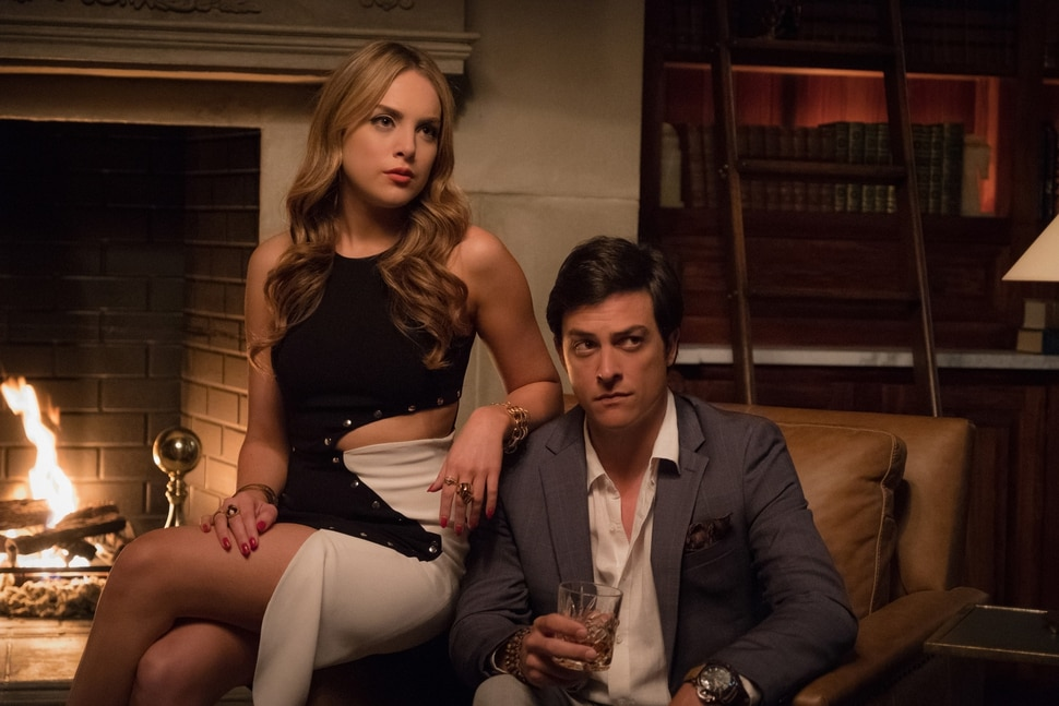 """(Courtesy of Mark Hill/The CW) Elizabeth Gillies as Fallon and James Mackay as Steven in """"Dynasty."""""""