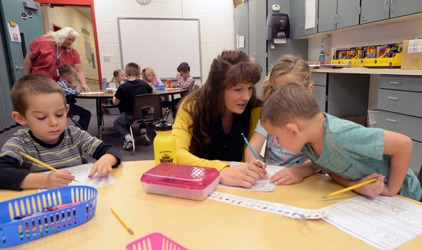 (Al Hartmann | The Salt Lake Tribune) Melissa Morris taught kindergarten through second graders penmanship and drawing the alphabet on Wednesday August 30. Park Valley's head teacher and one of two, she had a class of nine that day, with a teacher's aid, giving students a lot of individual attention.