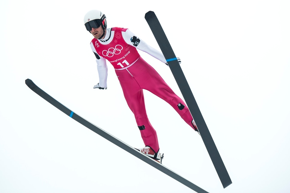 (Chris Detrick | The Salt Lake Tribune) USA's Taylor Fletcher competes in the Individual Gundersen Normal Hill/10km Official Training Jump at Alpensia Ski Jumping during the Pyeongchang 2018 Winter Olympics Sunday, February 11, 2018. Fletcher finished this jump in 52nd place with a distance of 70 meters.