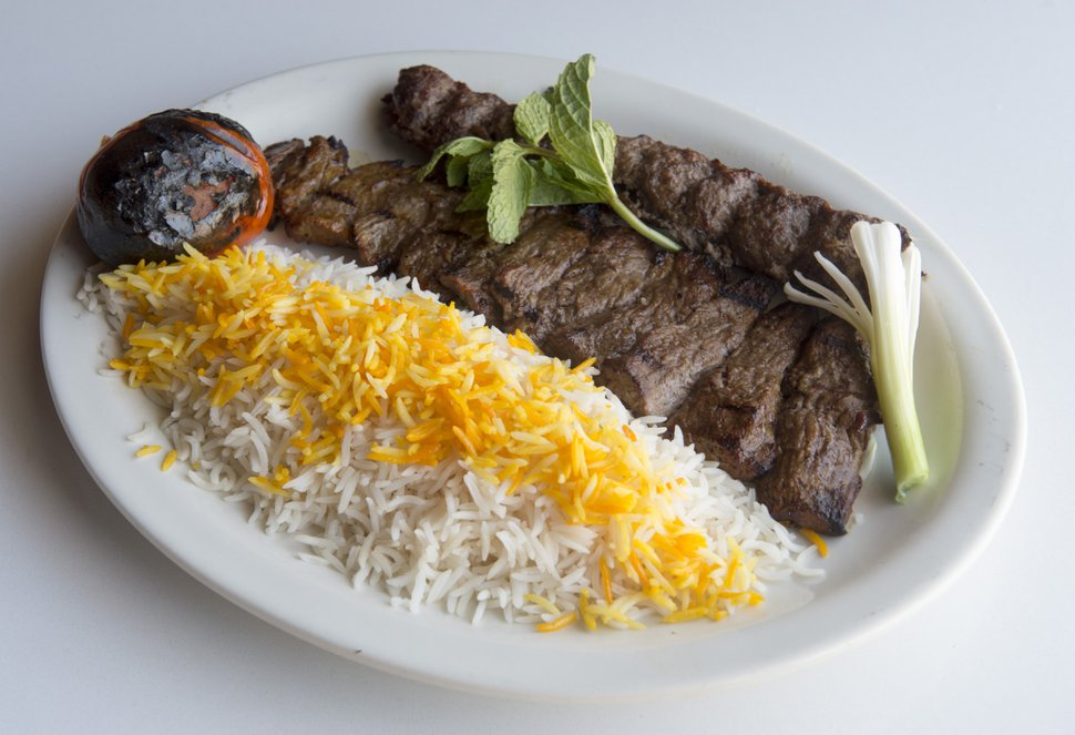 Rick Egan | The Salt Lake Tribune Beef Soltani, with Basamati rice, at the Zaferan Cafe, in Cottonwood Heights, Monday, August 17, 2015.