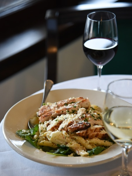 (Francisco Kjolseth | The Salt Lake Tribune) Imported penne pasta, in a bacon-alfredo sauce on spinach with grilled chicken breast at Caffe Molise, recently opened in its new location inside the old (but completely updated) Eagle Building on the southwest corner of 400 South and West Temple.