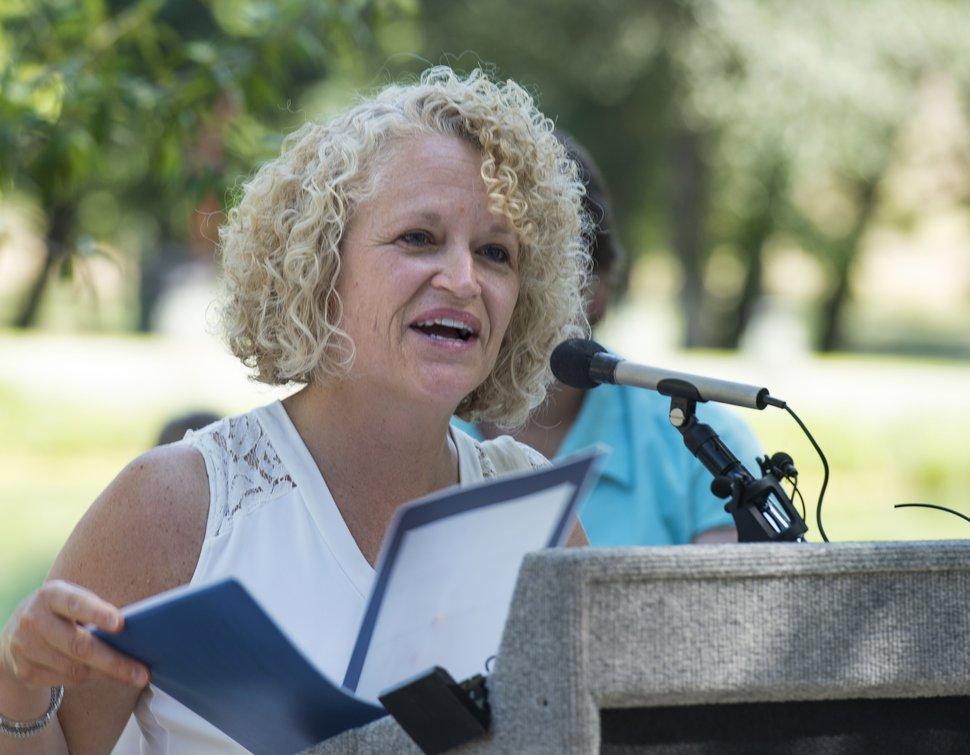 (Rick Egan | The Salt Lake Tribune) Salt Lake CIty Mayor Jackie Biskupski speaks at the grand reopening celebration for Fairmont Park Pond, Wednesday, June 27, 2018.