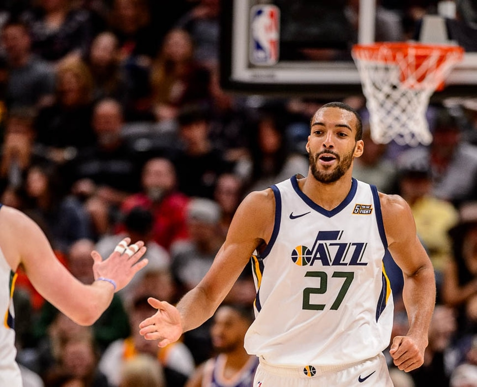 (Trent Nelson | The Salt Lake Tribune) Utah Jazz center Rudy Gobert (27) as the Utah Jazz host the Phoenix Suns, NBA basketball in Salt Lake City on Monday March 25, 2019.