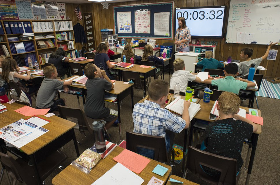 (Rick Egan | The Salt Lake Tribune) Heather Rogers teaches 5th grade at John Hancock Charter School in Pleasant Grove, Friday, Sept. 7, 2018. Emily Gourley says she enrolled her two sons in the charter school, where classes are capped at 24 students, to avoid overcrowded classrooms.
