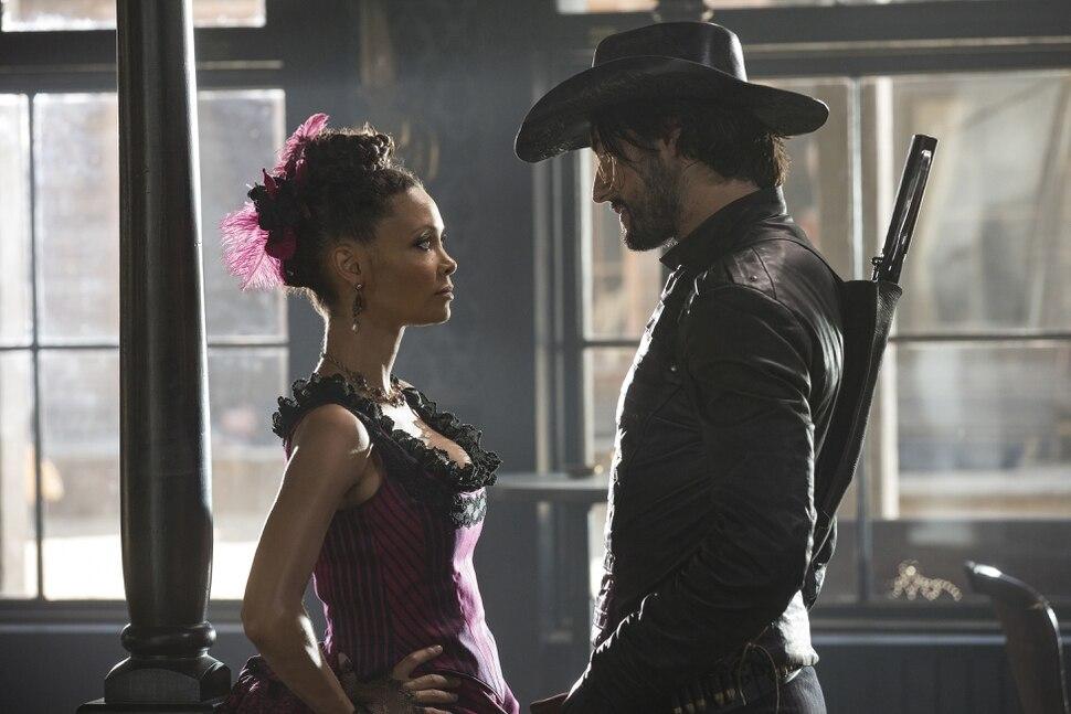 John P. Johnson | HBO Thandie Newton as Maeve Millay and Rodrigo Santoro as Hector Escaton in ÒWestworld.Ó