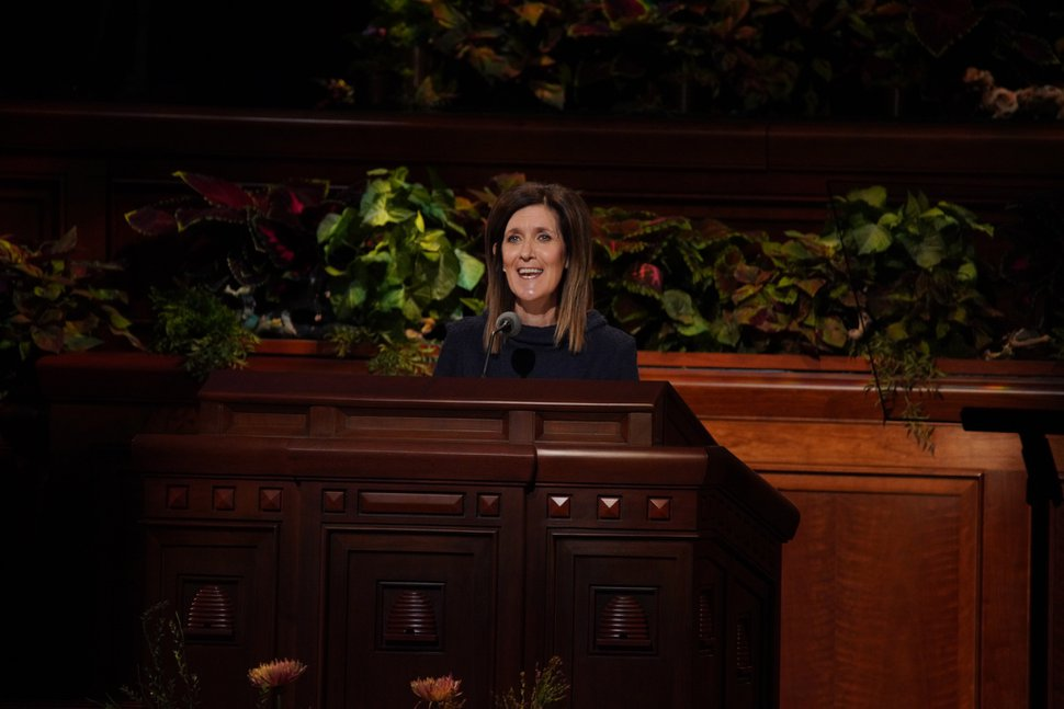 (Photo courtesy of The Church of Jesus Christ of Latter-day Saints) Michelle D. Craig, first counselor in the Young Women general presidency of the church, addresses Latter-day Saints worldwide at the 189th Semiannual General Conference on Saturday, Oct. 5, 2019.