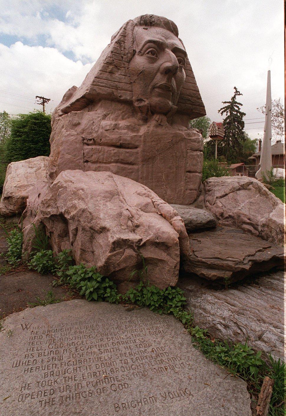 (Tribune file photo) Sphinx in Gilgal Garden in Salt Lake City includes image of Mormon founder Joseph Smith.