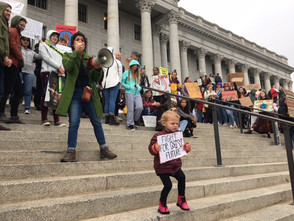(Brian Maffly | The Salt Lake Tribune) Young people led the call for action against climate change at the Utah Capitol on Friday, Sept. 20, 2019.