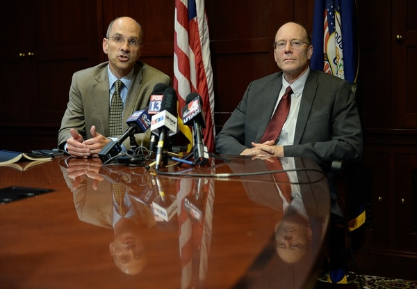 Francisco Kjolseth | The Salt Lake Tribune Paul Edwards, Deputy Chief of Staff for Utah Gov. Gary Herbert, left, and Alan Matheson, Executive Director of the Department of Environmental Quality, address the media following a brief visit by Scott Pruitt, the EPA administrator to Utah on Tuesday, July 18, 2017.