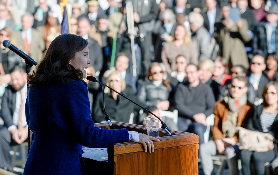 (Francisco Kjolseth | Tribune file photo) Erin Mendenhall addresses the crowd after being sworn in as Salt Lake City mayor during inauguration ceremonies at Salt Lake City Hall on Monday, Jan. 6, 2020.