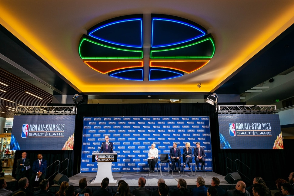 (Trent Nelson | The Salt Lake Tribune) NBA Commissioner Adam Silver announces that Salt Lake City will host the 2023 NBA All-Star Game at a news conference in Salt Lake City on Wednesday Oct. 23, 2019.