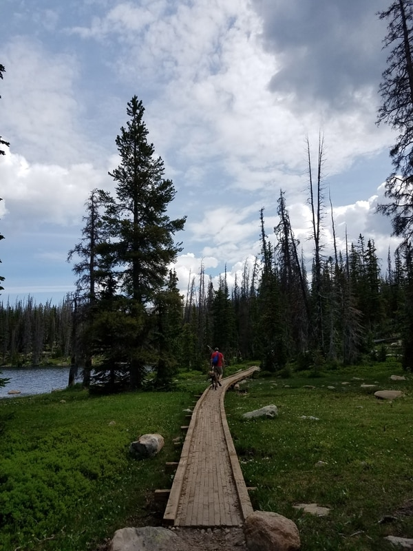 Jessica Miller | The Salt Lake Tribune Kelly Miller walks along a boardwalk near one of the many lakes hikers pass on the way to Clyde Lake.